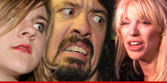 Frances Bean Cobain, Dave Grohl and Courtney Love