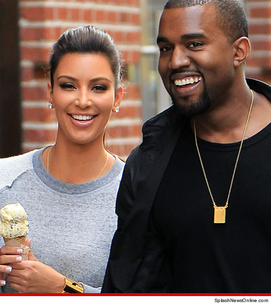 Kim Kardashian and Kanye West get some ice cream.