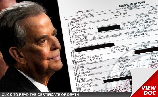 Dick Clark Death Certificate