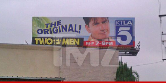 Charlie Sheen Two and Half Men billboard ad