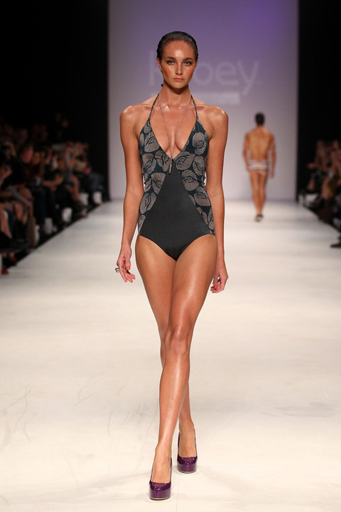 Kooey Australia on the catwalk on day three of Mercedes-Benz Fashion Week in Sydney, Australia.