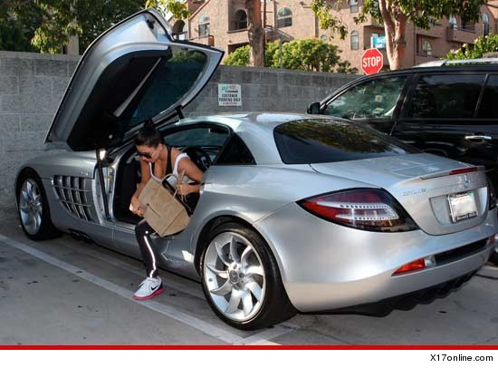 Kim Kardashian in a car belonging to Kanye West