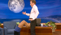 Nina Dobrev Plays Footsie with Conan O'Brien's Crotch!