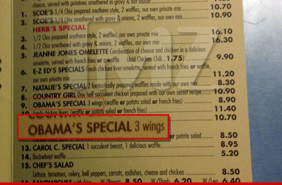 The Obama special at Roscoes Chicken and Waffles