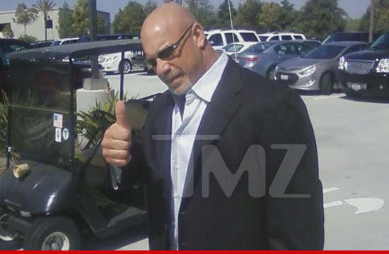 Bill Goldberg arrives at the Junior Seau memorial