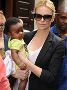 Charlize Theron Takes Son Jackson to Madrid