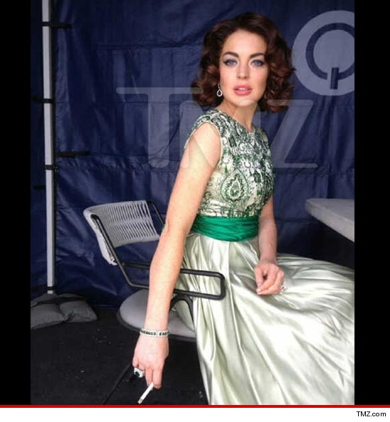 Lindsay Lohan all dressed up as Liz Taylor
