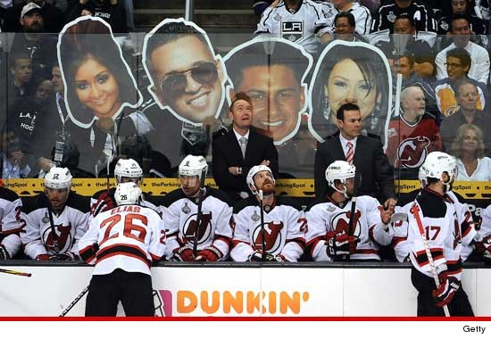 L.A. Kings fans taunted their rivals with blown up images of the Jersey Shore cast