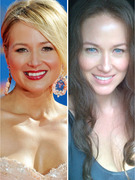 Jewel Almost Unrecognizable with Fake Teeth, Blue Eyes &amp; Dark Hair