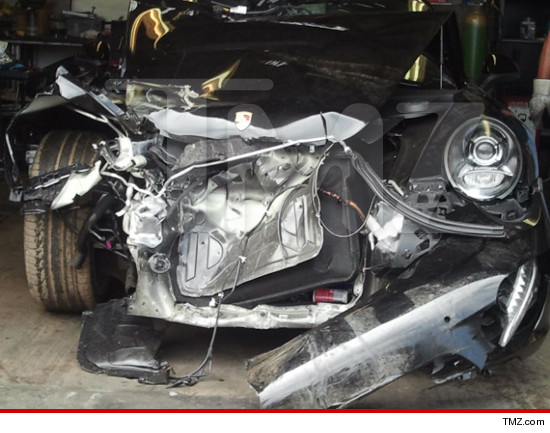 Lindsay Lohan car accident: totalled porsche