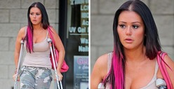'Jersey Shore' Fight -- Jwoww on Crutches