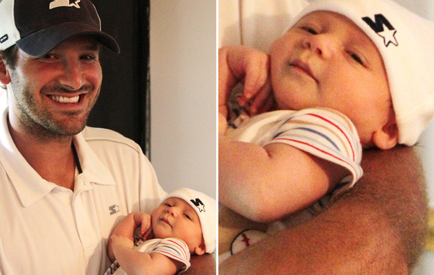 Tony Romo, Baby Son Sport Same Gear!