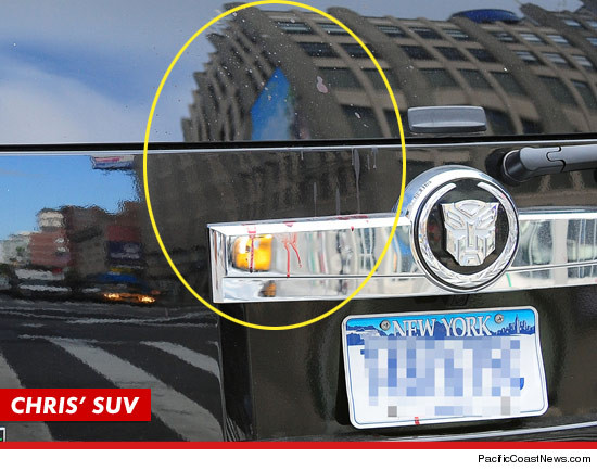 What appears to be blood splattered on the back of Chris Browns car