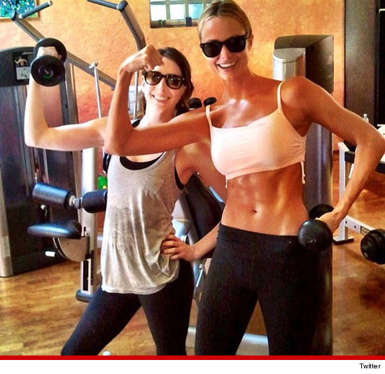 Stacy Keibler shows her flat stomach off during a workout.