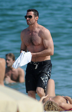 Hugh Jackman Goes Topless to Barcelona Beach