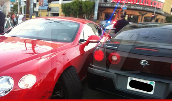 Soulja Boy got into a car accident in his gleaming red Bentley