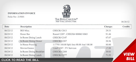 Charlie Sheen Hotel Bill