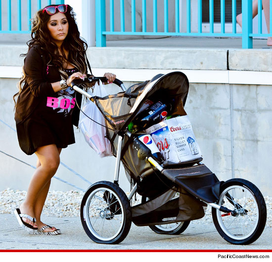 Snooki... just pushing a stroller full of beer.