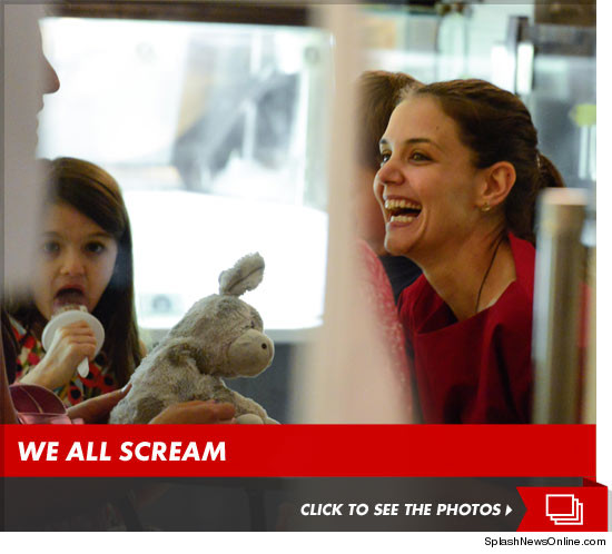 Katie Holmes is officially happy -- at least that's the way it appeared in NYC yesterday, when the actress dropped by an ice cream parlor with her daughter Suri ... and finally had a good laugh.It's