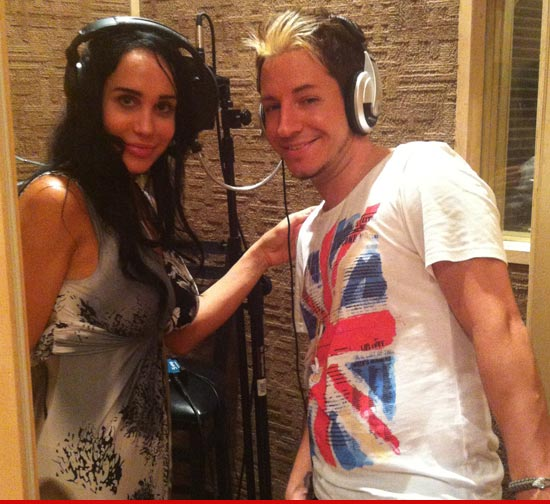 Octomom recording in a music studio.