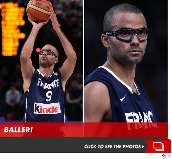 Tony Parker wearing protective glasses/goggles.
