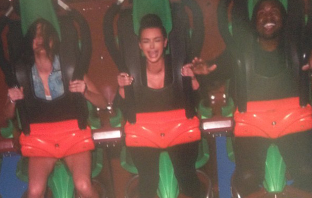 Kim Kardashian & Kanye West Take Kylie & Kendall to Six Flags!
