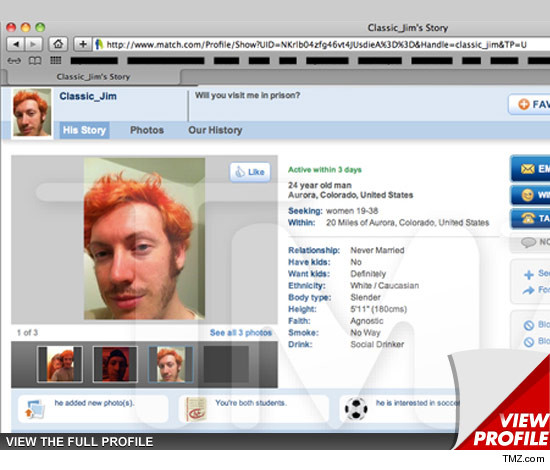 James Holmes' Match.Com Profile