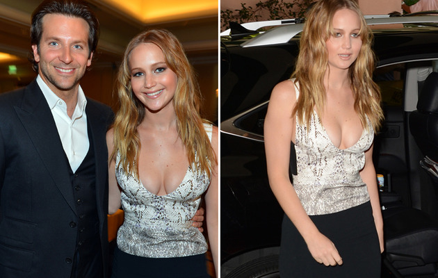 Jennifer Lawrence Busts Out at HFPA Luncheon