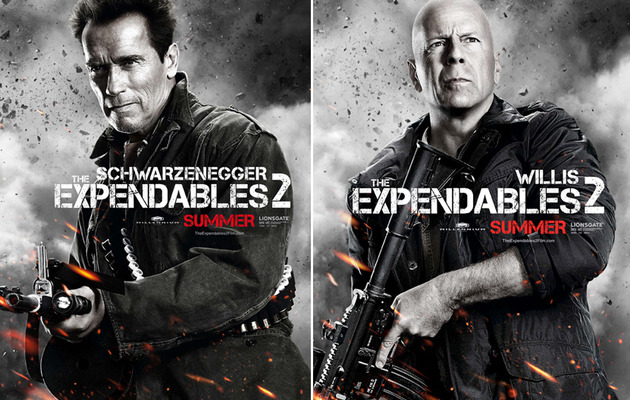 """Expendables 2"" Clip -- Arnold & Bruce In Action!"