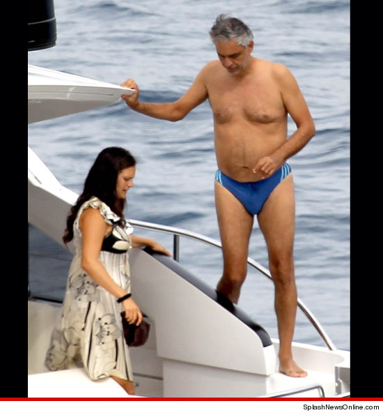 Andrea Bocelli in a speedo.