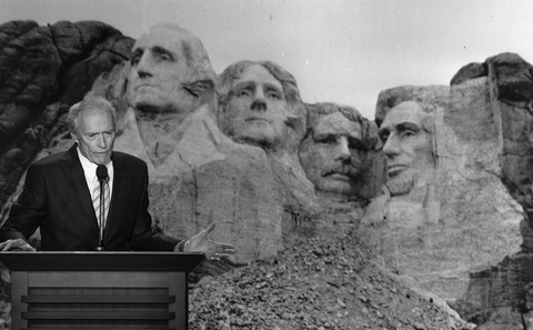 Clint Eastwood talking to Mount Rushmore!