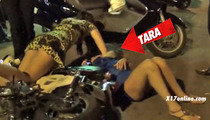 Tara Reid HAMMERED DRUNK -- Takes Down Parked Motorcycle