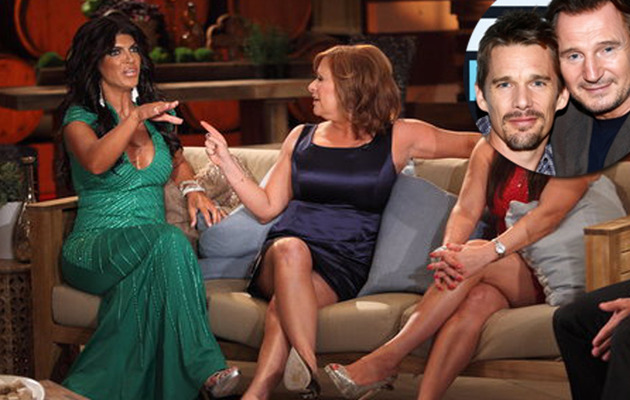 "Ethan Hawke, Liam Neeson Reenact ""Real Housewives"" Reunion!"