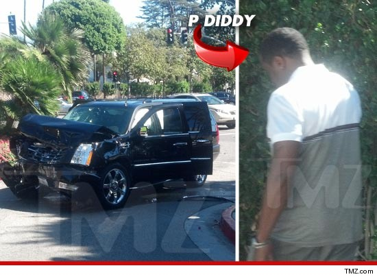 Diddy's car after the accident