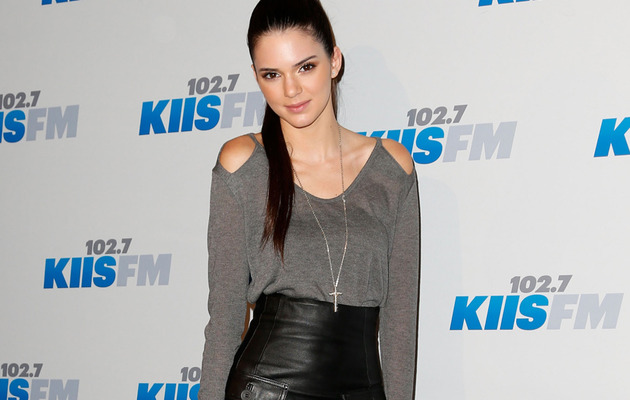 Kendall Jenner Sports Short Leather Skirt for Jingle Ball