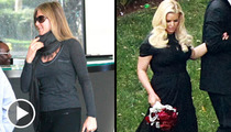 Jennifer Aniston & Jessica Simpson -- Is That a Baby in Your Belly ... Or Just Lunch?