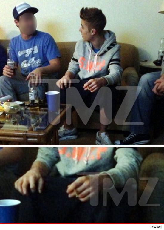 Justin Bieber smoking a blunt