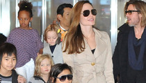 Brad Pitt & Angelina Jolie-- Cop Cars, Helicopter Race to Hollywood Hills Mansion