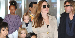 Brad Pitt &amp; Angelina Jolie-- Cop Cars, Helicopter Race to Hollywood Hills Mansion