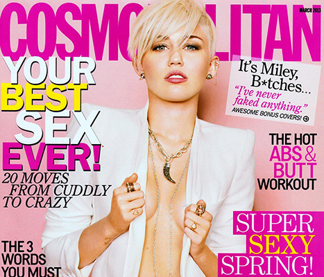"Miley Cyrus Goes Braless for Cosmo, Calls Liam ""Hubby"""