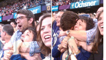 Michael Phelps & Mom -- CRYFEST at the Super Bowl