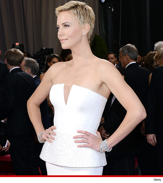 charlize therons pixie cut at the 85th annual academy