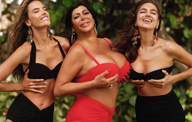 Big Ang Flaunts Big Cleavage with Irina Shayk & Alessandra Ambrosio