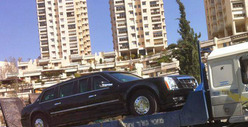 President Obama&#039;s Limo -- BUSTED in Israel, Gets Tow Job