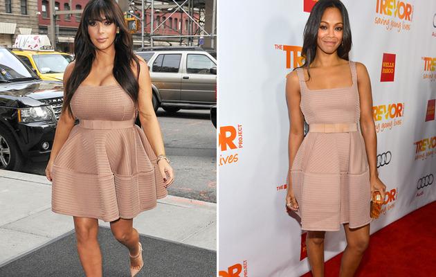 Dueling Dresses: Kim Kardashian vs. Zoe Saldana!
