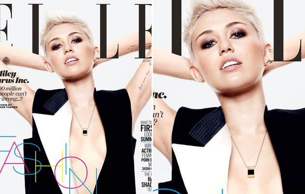 Miley Cyrus Goes Bra-less for Elle UK Cover