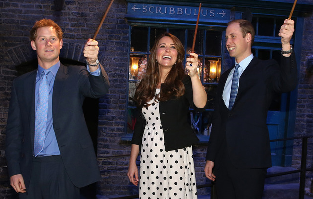 Prince William, Kate Middleton & Prince Harry Visit Movie Studio
