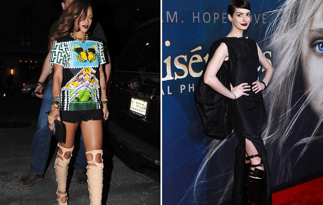 "Rihanna Vs. Anne Hathaway: Who Rocked ""Bondage Boots"" Better?"