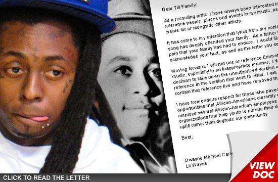 Lil Wayne to Emmett Till Family -- I Won't Compare Sex to Emmett's Murder Anymore