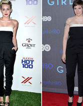 Dueling Dresses: Miley Cyrus vs. Lena Dunham!